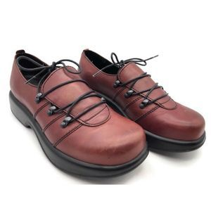 C Womens Comfort Shoes Red Leather Lace Up